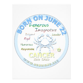 June 22nd Birthday - Cancer Custom Letterhead