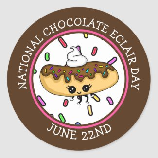 June 22nd National Chocolate Éclair Day   Keychain Classic Round Sticker
