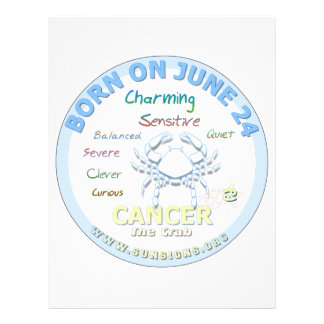 June 24th Birthday - Cancer Personalized Letterhead