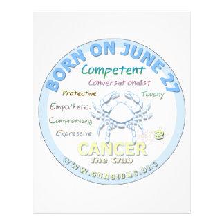 June 27th Birthday - Cancer Customized Letterhead