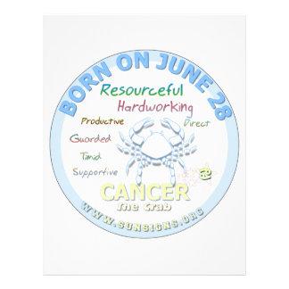June 28th Birthday - Cancer Custom Letterhead