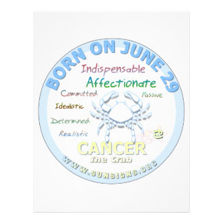 June 29th Birthday - Cancer Letterhead