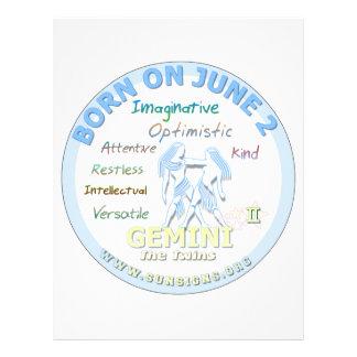 June 2nd Birthday - Gemini Personalized Letterhead