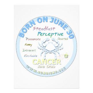June 30th Birthday - Cancer Letterhead Template