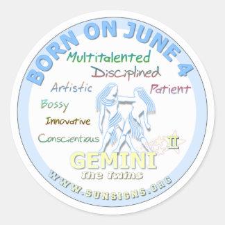 June 4th Birthday - Gemini Classic Round Sticker