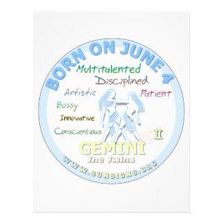 June 4th Birthday - Gemini Personalized Letterhead