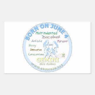 June 4th Birthday - Gemini Rectangular Sticker