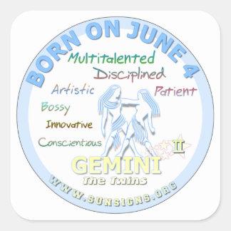June 4th Birthday - Gemini Square Sticker