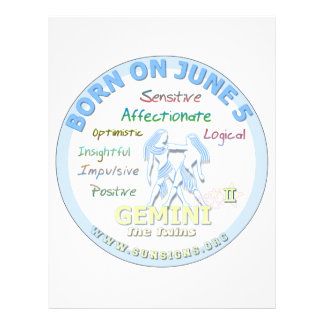 June 5th Birthday - Gemini Customized Letterhead