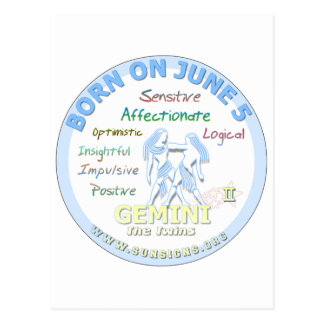 June 5th Birthday - Gemini Postcard