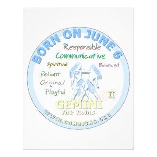June 6th Birthday - Gemini Letterhead Template