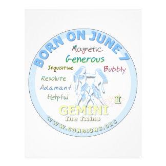 June 7th Birthday - Gemini Letterhead Template