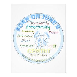 June 8th Birthday - Gemini Customized Letterhead