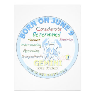 June 9th Birthday - Gemini Letterhead Design