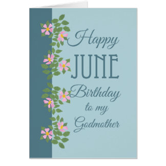June Birthday Card for Godmother: Dogroses on Blue Greeting Cards