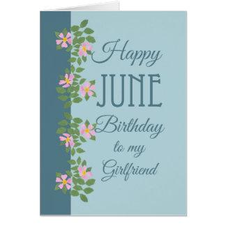 June Birthday Card, Girlfriend: Dogroses on Blue Card
