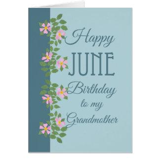 June Birthday Card, Grandmother: Dogroses on Blue Card
