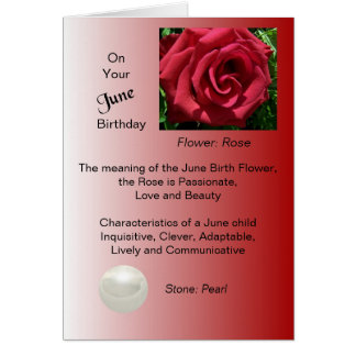 June Birthday Card - Rose and Pearl
