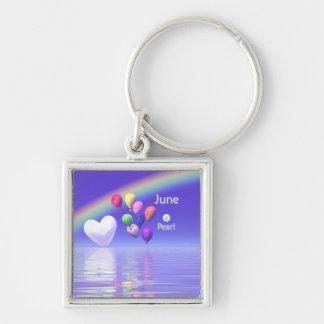 June Birthday Pearl Heart Keychain