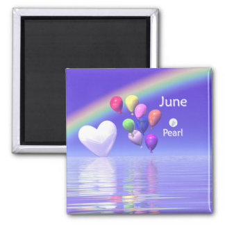 June Birthday Pearl Heart 2 Inch Square Magnet