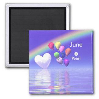 June Birthday Pearl Heart Refrigerator Magnet