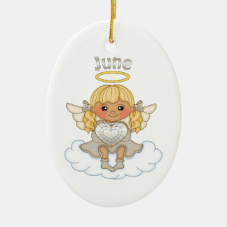 June Birthstone Angel Blonde Ceramic Ornament