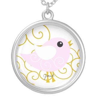 June Birthstone Bird Personalized Necklace