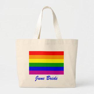 June Bride/Gay Pride Large Tote Bag