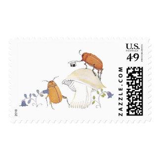 June Bugs, Mushroom and Blue Flowers Stamp