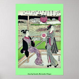 June by Suzuki, Harunobu Ukiyoe Poster