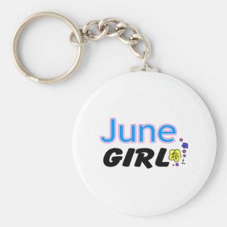 June Girl Basic Round Button Keychain