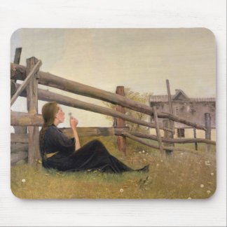 June. Girl Blowing Dandelion Seeds, 1899 Mouse Pad
