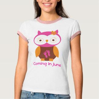 June Pregnancy Announcement Owl T-shirt
