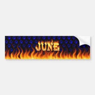 June real fire and flames bumper sticker design.