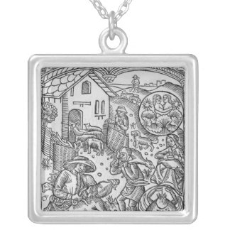 June, sheep shearing, Gemini Silver Plated Necklace