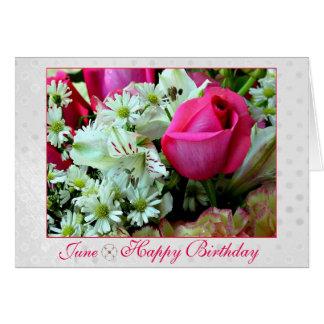 June Stunning Pink Red Rose Birthday Month Card