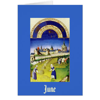 June - the Tres Riches Heures du Duc de Berry Stationery Note Card