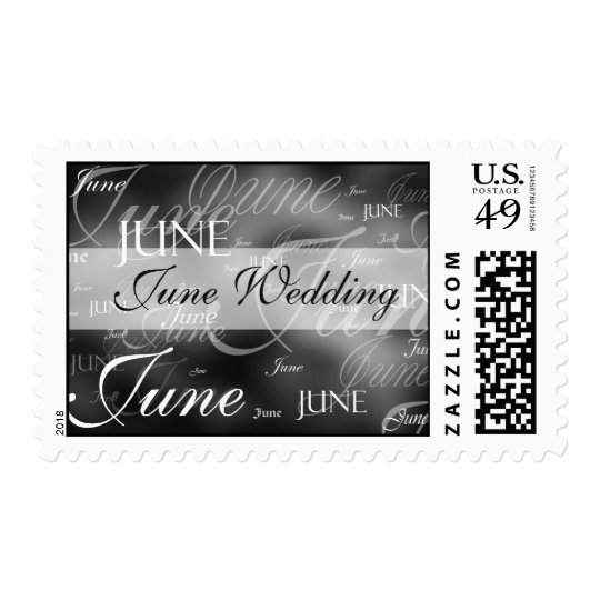 June Wedding Black And White Postage Stamp
