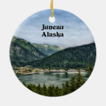 Juneau, Alaska Adorno Navideño Redondo De Cerámica