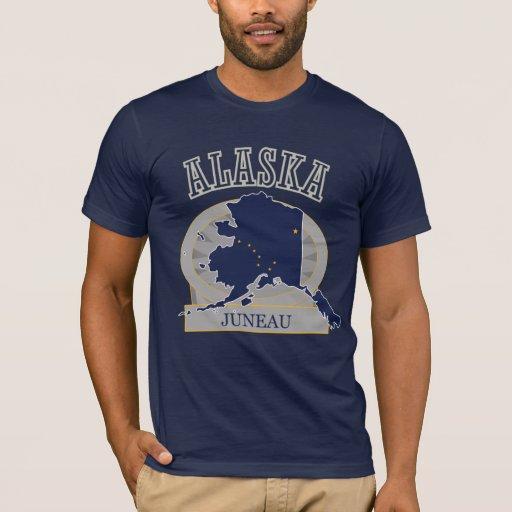 Juneau Alaska Flag Map Mens Navy Blue T-shirt
