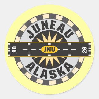 Juneau Alaska JNU Airport Round Stickers