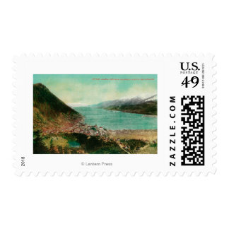 Juneau, Alaska Town View with Treadwell Mine in Postage