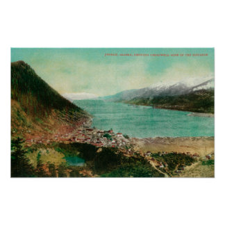 Juneau, Alaska Town View with Treadwell Mine in Poster