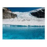 Juneau Icefield Icefall y lago glacial estupendo Postal