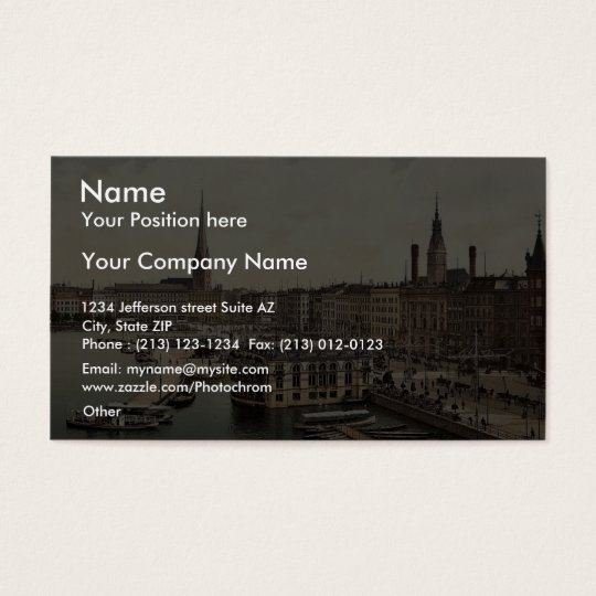 Jungfernsteig from the North, Hamburg, Germany cla Business Card