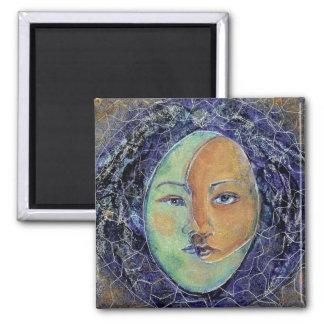 Jungian Style Sun Moon  Face Mandala 2 Inch Square Magnet
