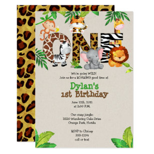 Jungle birthday invitations announcements zazzle jungle 1st birthday party invitations filmwisefo
