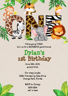 Safari 1st Birthday Invitations Zazzle