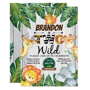 Jungle 2nd Birthday Invitation Boy Safari Zoo Two