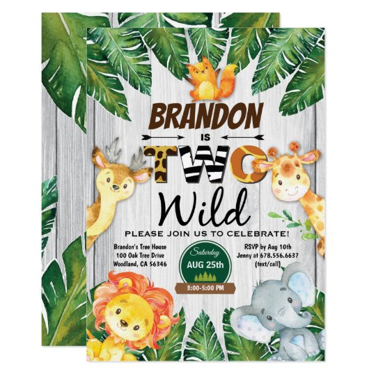 Jungle 2nd Birthday Invitation Boy Safari Zoo Two